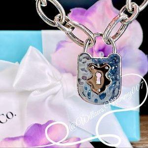 Tiffany & Co. 18k Rose Gold & Sterling Silver Hammered Keyhole Padlock Bracelet